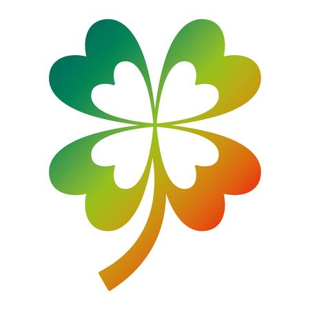 four leaves clover good fortune vector illustration  degraded color design Illustration