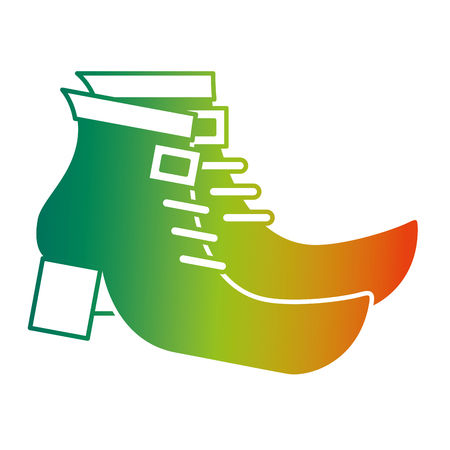 pair boot shoes of leprechaun vector illustration degraded color design