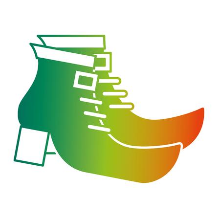 pair boot shoes of leprechaun vector illustration degraded color design