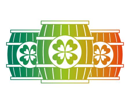 3 목조 배럴 음료 클로버 벡터 일러스트 저하 된 색상 디자인