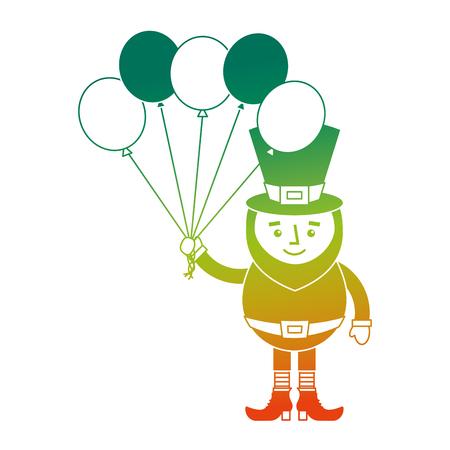 Leprechaun character holding bunch of balloons celebration vector illustration degraded color design