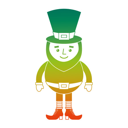 A degraded color design of a smiling leprechaun cartoon St. Patricks day character vector illustration