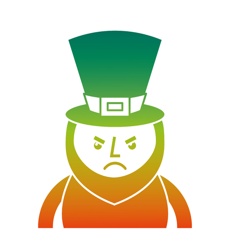 Degraded color design of St. Patricks day portrait of a angry leprechaun vector illustration