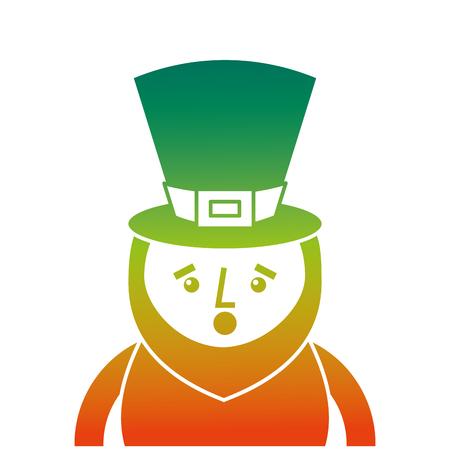 성 패트 릭의 날의 저하 된 색상 디자인 놀란 된 레프 러 콘 요정 벡터 일러스트 레이 션의 초상화