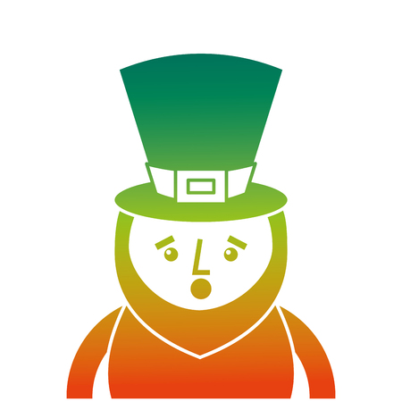 Degraded color design of St. Patricks day portrait of a surprised leprechaun vector illustration