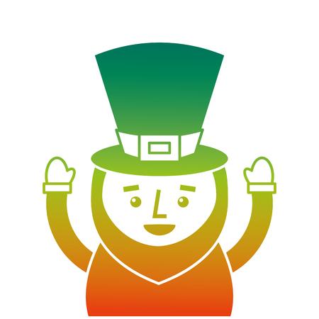 St. Patricks Day ritratto di un leprechaun con le braccia in alto illustrazione vettoriale design a colori degradati Archivio Fotografico - 94565355
