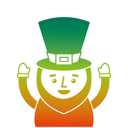 st. patricks day portrait of a leprechaun with arms up vector illustration  degraded color design Illustration
