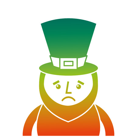 A degraded color design of St. Patricks day portrait of a sad leprechaun vector illustration