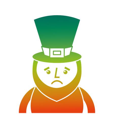 Een aangetast kleurontwerp van St. Patrick's dagportret van een droevige kabouter vectorillustratie
