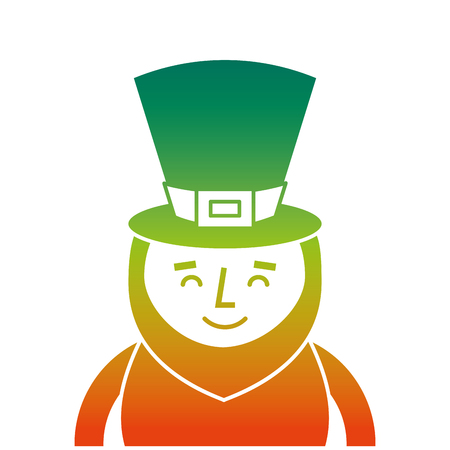 A degraded color design of St. Patrick's  day portrait of a smiling leprechaun vector illustration Illustration
