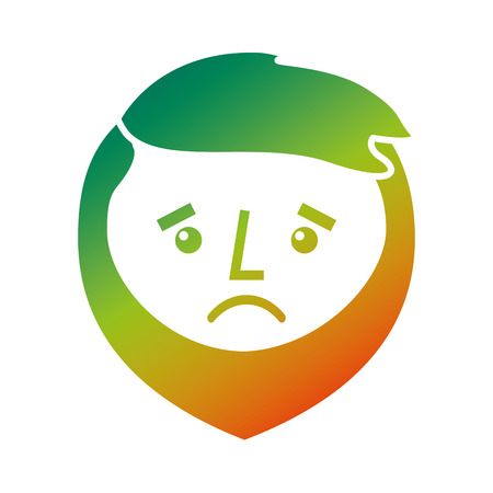 Cartoon sad face man beard character vector illustration with degraded color design