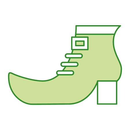 Green shoe boot accessory of leprechaun vector illustration, isolated on white
