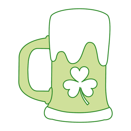A green beer glass foam with clover flower design vector illustration Illustration