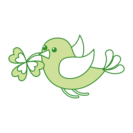 A green bird flying with clover in the beak vector illustration, isolated on white