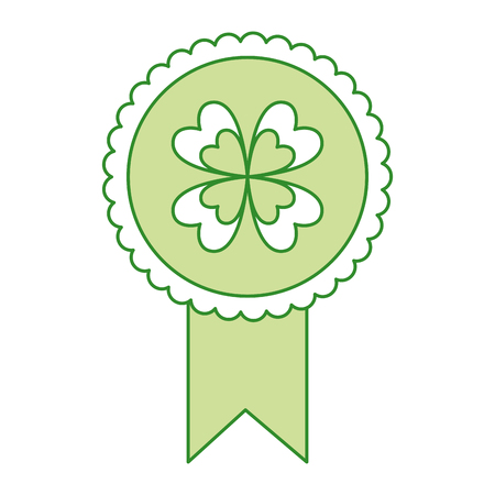 Green rossette clover ornament medal vector illustration Çizim