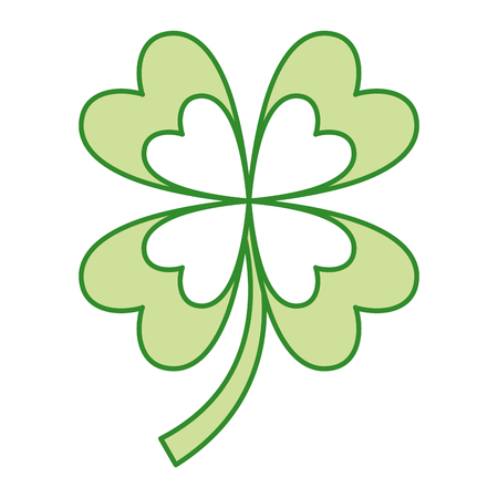 Four leaves clover good fortune vector illustration
