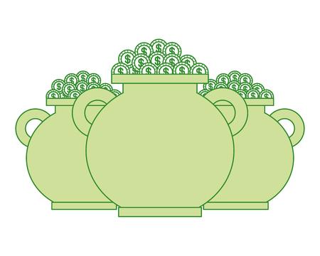 three green pot full gold coins treasure vector illustration