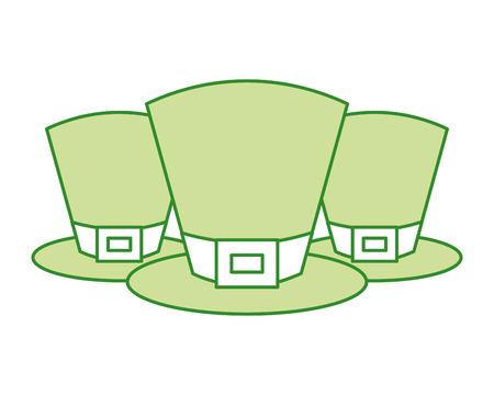 set of green hat of leprechaun accessory vector illustration