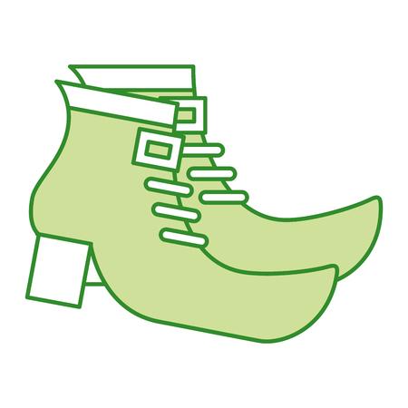 ペアグリーンのブーツシューズのレプラコーンベクトルイラスト