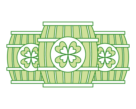 three wooden barrel drink clover vector illustration