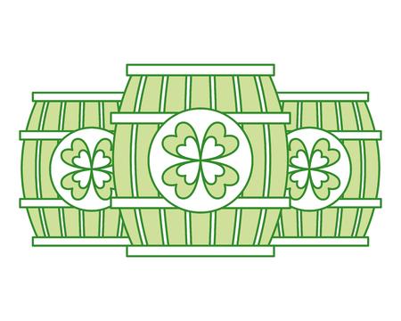 three wooden barrel drink clover vector illustration Imagens - 94565778