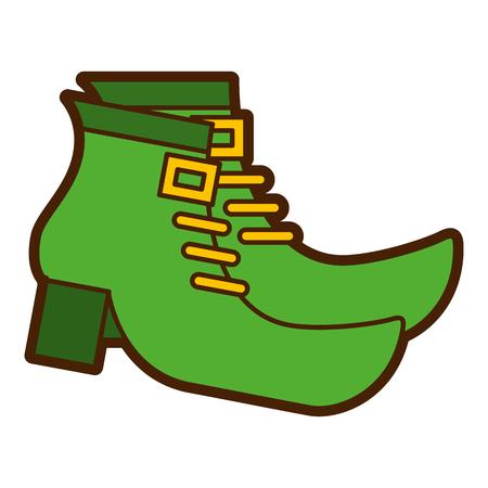 레프 러 콘 요정 벡터 일러스트 레이 션의 쌍 녹색 신발