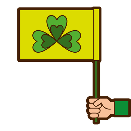 Hand holding green flag with clover symbol vector illustration