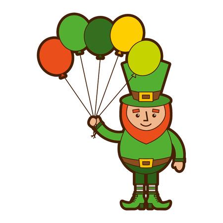 leprechaun character holding bunch of balloons celebration vector illustration 向量圖像