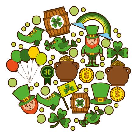 st patricks day celebration party elements icons vector illustration