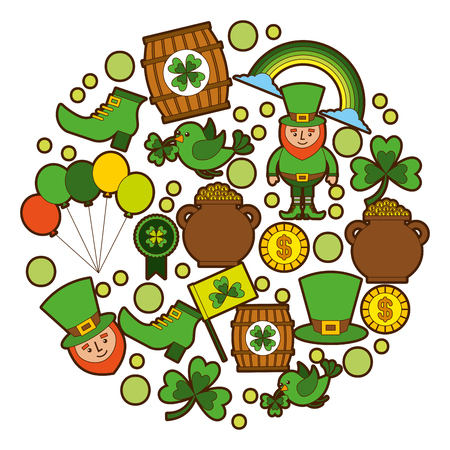 st patricks day celebration party elements icons vector illustration