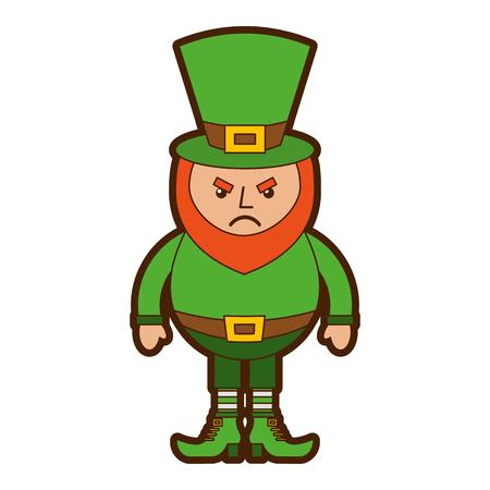 Leprechaun angry cartoon st patricks day character vector illustration
