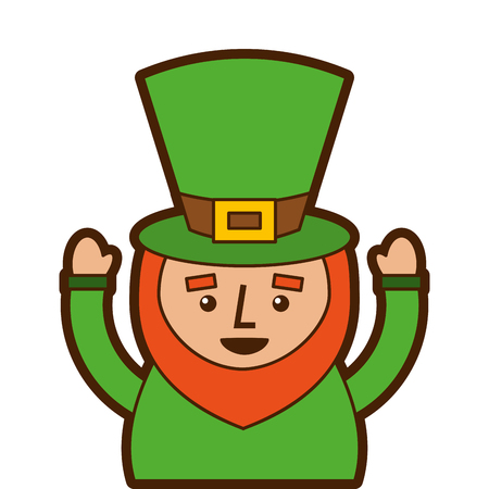 St. Patricks day portrait of a leprechaun with arms up vector illustration Ilustracja