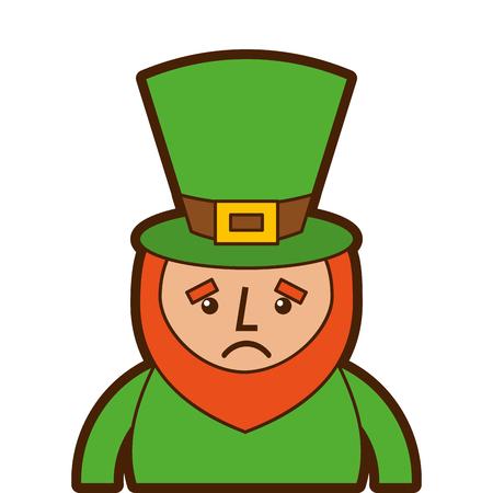 St. Patrick dagportret van een droevige kabouter vectorillustratie