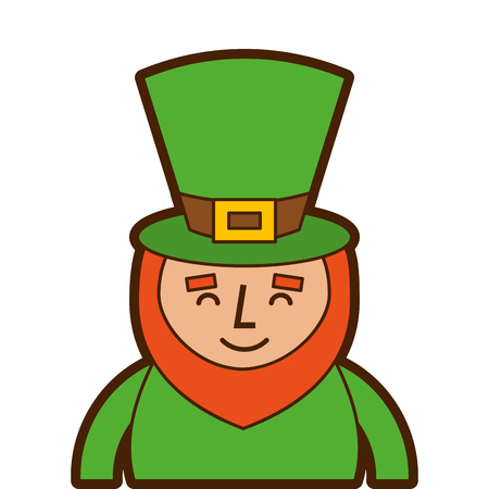 St. Patricks day portrait of a smiling leprechaun vector illustration