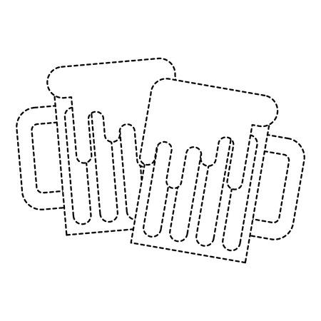 two beer glass foam beverage alcohol vector illustration sticker design