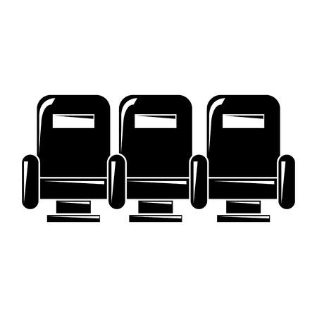 3アームチェア家具シアター快適なアイコンベクトルイラスト  イラスト・ベクター素材