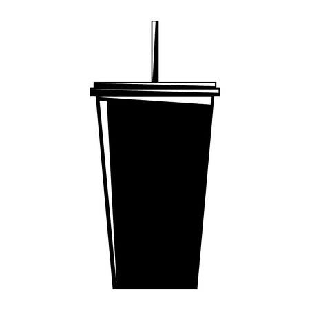 plastic soda cup with straw take away vector illustration