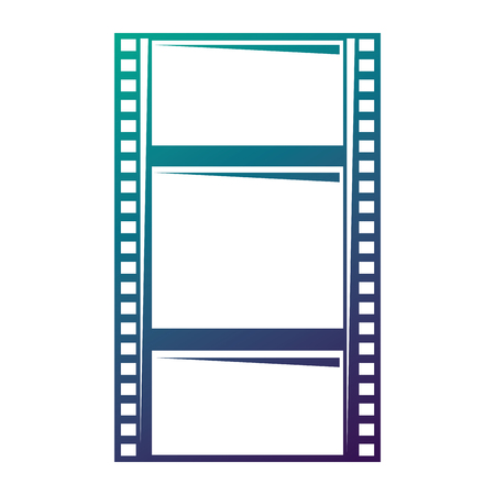 Blank film strip negative border hole vector illustration degraded color design