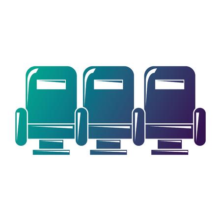 3つのアームチェア家具シアター快適アイコンベクトルイラスト劣化カラーデザイン