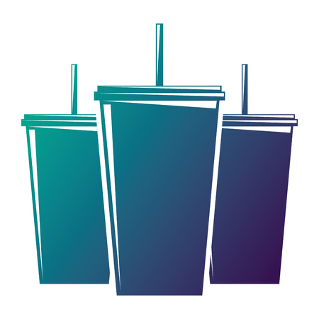 Set of plastic soda cup with straw fresh drink vector illustration degraded color design Ilustrace