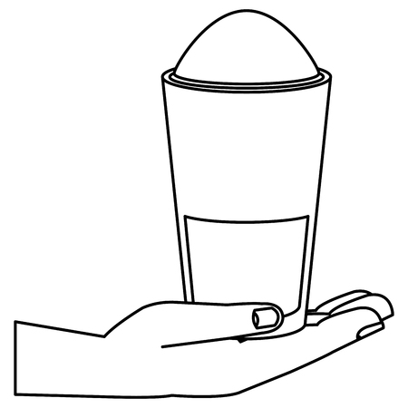 hand with iced delicious coffee icon vector illustration design Illustration