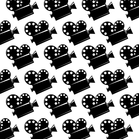 seamless pattern film cinema movie projector vector illustration