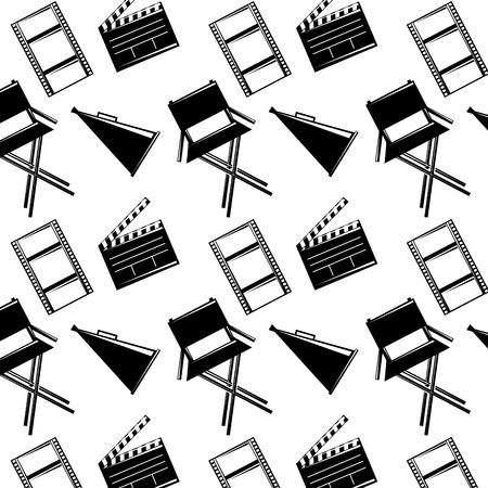 シームレスなパターンフィルム映画チェアメガホンとクラッパーボードベクトルイラスト