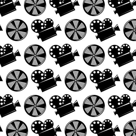 シームレスなパターンムービーカメラプロジェクターとリールフィルムベクトルイラスト