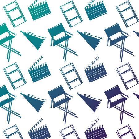 Nahtloses Musterfilmfilm-Stuhlmegaphon und clapperboard Vektorillustration verminderten Farbdesign. Standard-Bild - 94570414