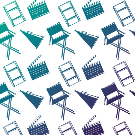 Seamless pattern film movie chair megaphone and clapperboard vector illustration degraded color design.