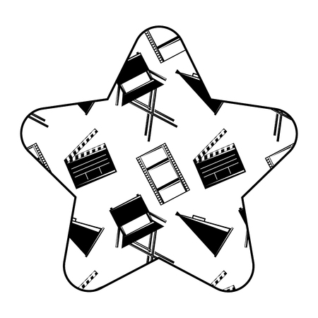 Label star with film movie chair megaphone and clapperboard vector illustration.