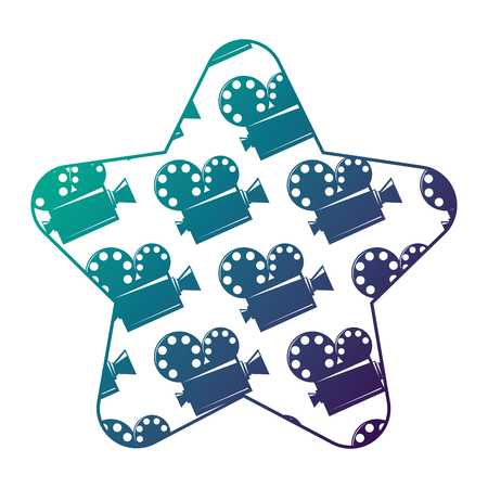 Label star with film cinema movie projector vector illustration degraded color design Illustration