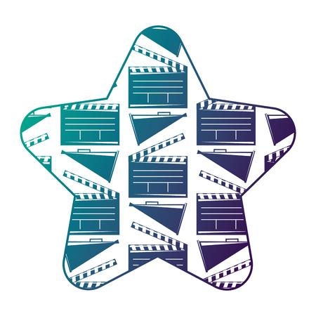 Label star with movie cinema clapperboard and megaphone vector illustration degraded color design.