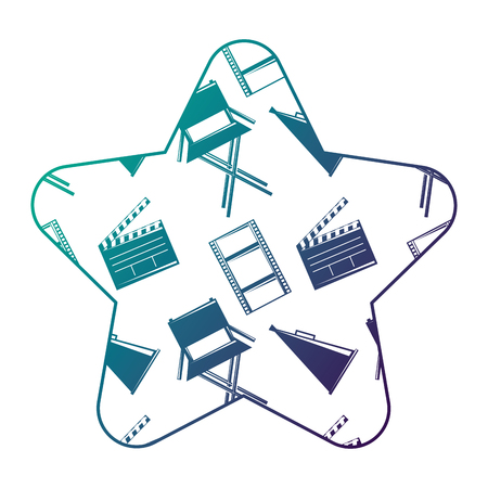 Label star with film movie chair megaphone and clapperboard vector illustration degraded color design. Çizim